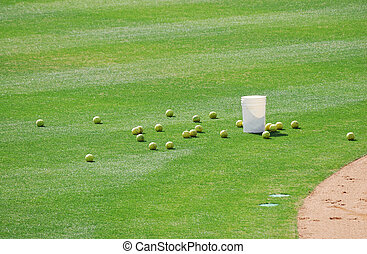 baseballs on the playing field