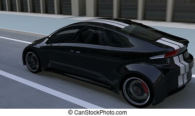 Black electric sports car driving on the street. 3D...