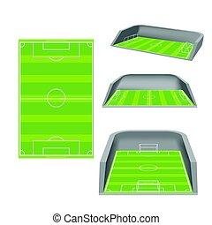 Soccer Field White Isolate Stadium Vector