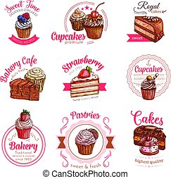 Vector icons of pastry dessert cakes and cupcakes - Pastry...