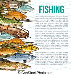 Vector poster for fishing or sea fish product - Fishing...