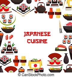Vector poster of sushi and Japanese seafood rolls - Japanese...