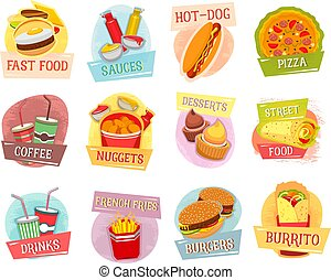 Vector icons for fast food menu design