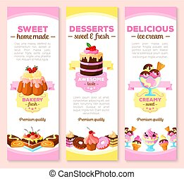 Vector banners of dessert cakes and pastry sweets - Desserts...
