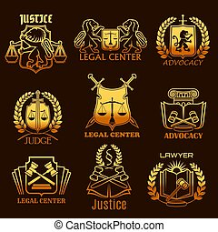 Advocacy lawyer vector gold icons of legal justice -...