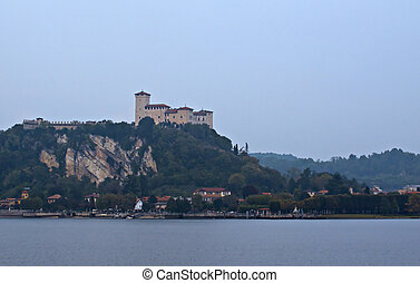 Castle - Rocca dAngera, Italian castle looking to lake...