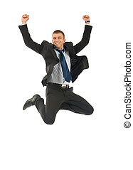 Businessman jumping and celebrating isolated on a white...