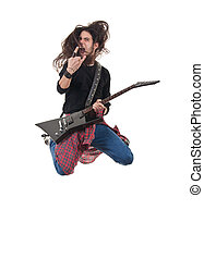 heavy metal rocker jumps on a white background