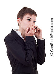 woman worries about bad business - A business woman worries...