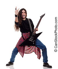 rock and roll! - long haired guitarist is playing and making...