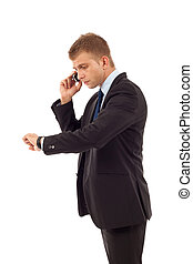 checking time and talking to a phone - business man checking...