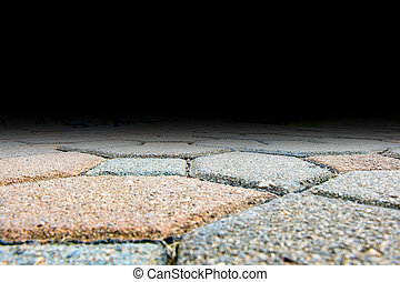 Ant eye view of brick block pavement floor, Copy space for adding your content