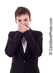 woman covering her mouth with hands - Young business woman...