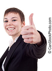 Thumbs Up! Studio partrait of young business woman showing...
