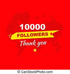 Thank you for 10000 followers. Greeting card in honor of the...