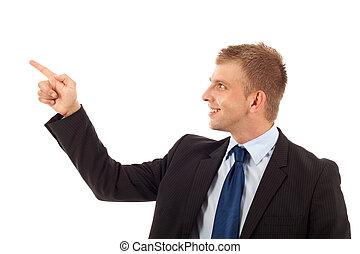 man pointing on something