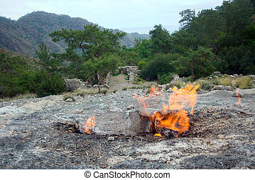 himera fire, famous place on Lycia way, located on mountain...