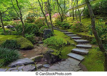 Stone Stairs at Portland Japanese Garden