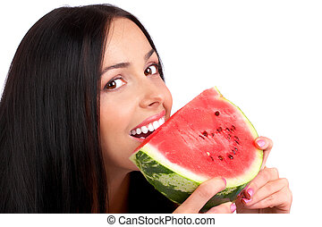 water-melon diet - Beautiful young woman eating the water...