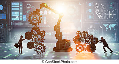 Businesspeople with cogwheel and robotic arm
