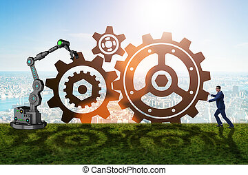 Teamwork concept with businessman and cogwheels