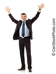 Happy young business man on white background
