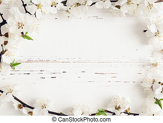 Spring cherry blossom on rustic wooden background. - Frame...