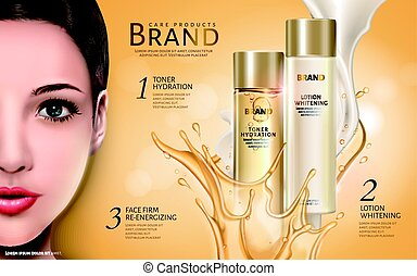 cosmetic products ad with half model face and bicolor fluid...