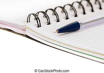 pen and notebook isolated on a white background...