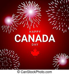 Fireworks on red background for national day of Canada -...