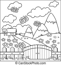 Small country house, meadow and wooden fence coloring book page
