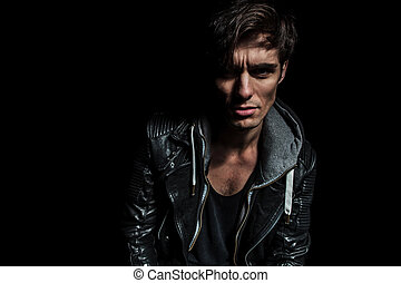 fashion man in leather jacket