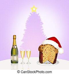 Christmas dinner - illustration of Christmas dinner