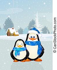cute penguins on ice