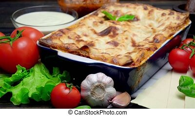 Classic Lasagna with bolognese and bechamel sauce - Lasagna...