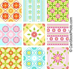 Set of floral seamless pattern with different flowers and leaves. Vector backgrounds in flat style