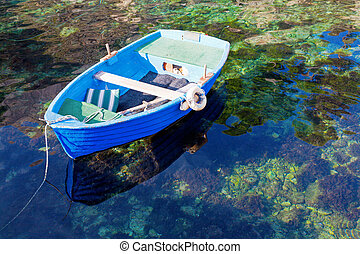 Rowboat - A rowboat moored in a clear lagoon