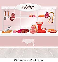 Butcher - illustration of Butcher shop