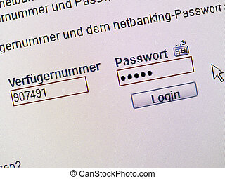 password entry for online banking