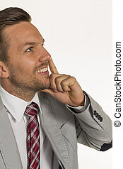 pensive manager - a manager is thinking about a problem.
