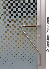 front door with doorbell and intercom, symbol of apartments,...