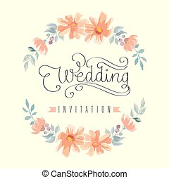 Wedding invitation hand letter with flowers. Vector...