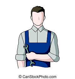 Fitter mechanic.Professions single icon in cartoon style...