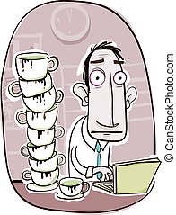 toot much coffee. - cartoon office worker with too much...