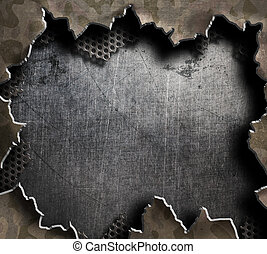 big hole in metal military board 3d illustration - big hole...