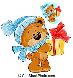 Vector teddy bear in a knitted cap and scarf handing a gift box.