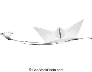 Vector illustration of White Paper boat .