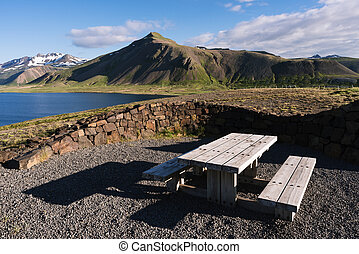 Resting place with a view of the mountains in Iceland -...