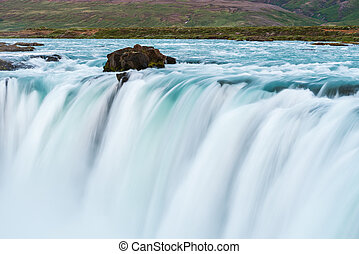 Cascade of the Godafoss Waterfall in Iceland - Fragment of...