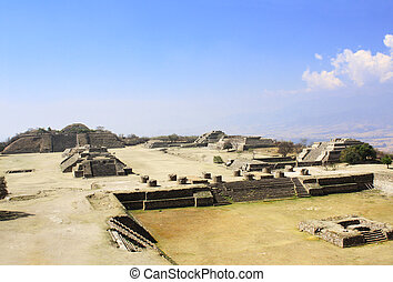 Mayan pyramids in Monte Alban, Oaxaca, Mexico - Top view on...